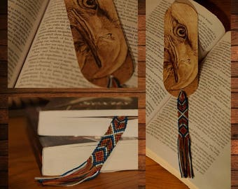 handmade wooden bookmark pyrography eagle