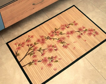 Printed Bamboo Mat - Plum blossom print in pink.