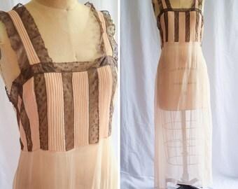 1920s Nightgown   Lillian   Vintage 20s Peach Silk Nightdress Sheer Crinkle Chiffon Brown Bobbin Lace Pintucks Flapper Gown Size M/L