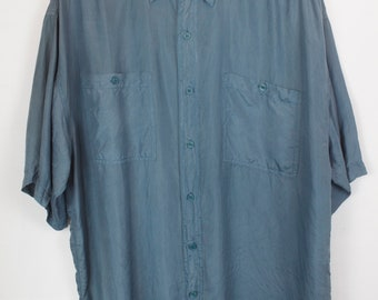 Vintage silk shirt, 90s clothing, green, shirt 90s, short sleeves, oversized