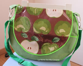 Crossbody bag in green jeans with flap apples laminated