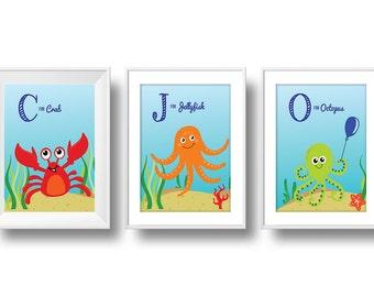 Ocean Nursery, ABC Part I Nursery Wall Art, Baby Ocean Animals Nursery Decor, Crab, Jellyfish & Octopus