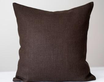 Brown pillow cover, Chocolate brown cushion, Throw pillows, Brown pillow covers, brown pillowcase, Brown euro shams, custom size 0276