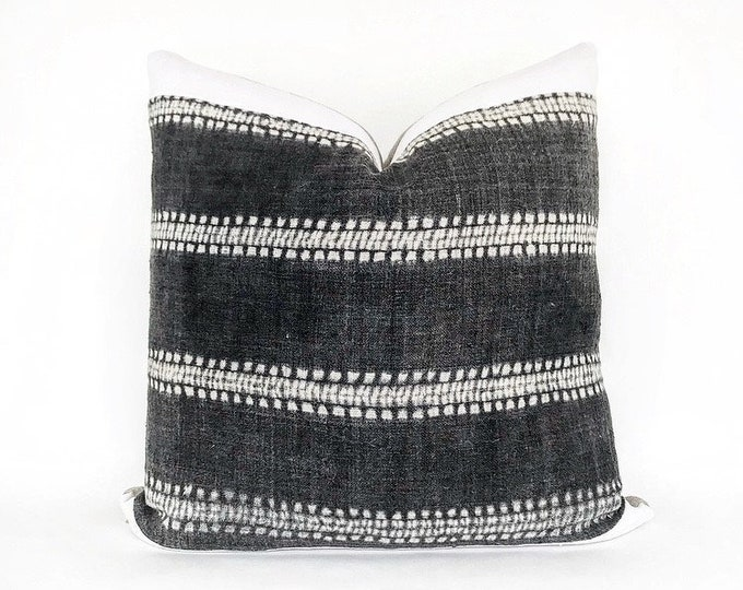 Vintage Dark Gray Hemp Hmong Hill Tribe Textile And Antique French Linen Pillow Cover 22x22