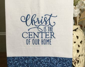Embroidered kitchen towel - Christ is the center