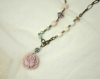 Shabby Chic Necklace / Rose Pendant necklace