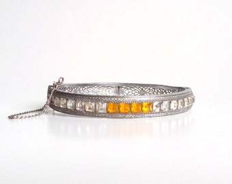 Art Deco Filigree Bracelet. Golden Amber and Clear Stones.
