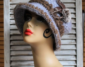 Vintage style. Crochet/blue grey/brown/floral fur/slouchy/hat. Adorable hat! Gift/winter/hats.