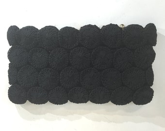 1940s large black circular motif pinwheel crochet bag - 1940s evening purse - 1940s vintage purse - 1940s evening bag - 1940s crochet purse