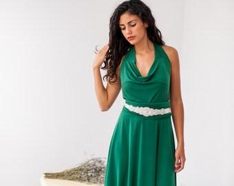 Green convertible bridesmaid dress, cowl neck convertible dress, green maxi dress, green long dress, emerald green wrap dress, green dress