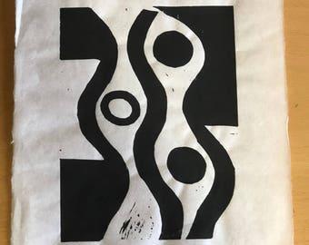 """Original Print ~ """"Asym"""" ~ Linoleum block print"""