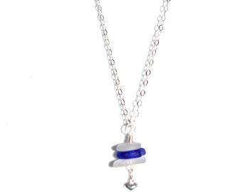 Sea Glass Necklace, Sea Glass Jewelry, Ocean Jewelry, Mermaid Jewelry, Cobalt Sea glass, White Sea Glass, Silver Heart Charm dangles.