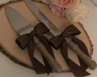 rustic cake knife, country wedding cake serving set, burlap and lace, mason jar wedding, custom color ribbon (K132)