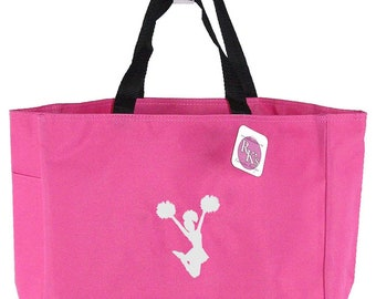 White Cheerleader Cheer Team Monogram Bag Custom Embroidered Hot Pink Coach Gift READY TO SHIP! Elite Squad Tote