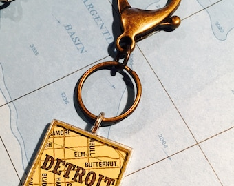 Detroit Michigan Map KeyRing