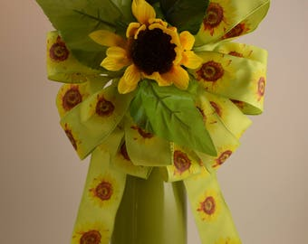 Sunflower Bow, Summer Bow, Floral Bow, Green and Yellow Bow, Wreath Bow, Basket Bow, Decorative Bow, Bouquet Bow