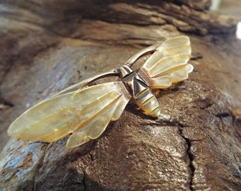 """Art Deco """"Georges Flamand"""" Carved Horn Moth Brooch"""