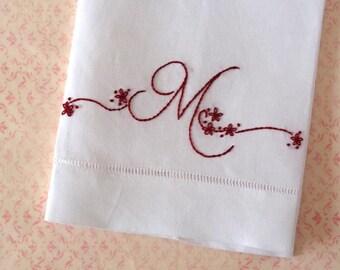 Redwork Monogram Tea Towel Hand Embroidery Kit