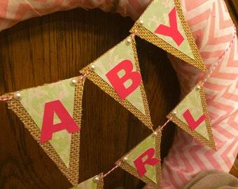 Baby Girl Wreath, Chevron, Pink, Baby Shower, Baby Wreath