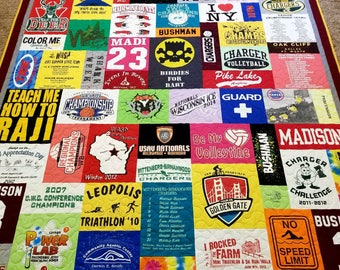 T-shirt quilt made from 10-55 t shirts. Mosaic tshirt quilt. Memory Puzzle tee shirt quilt. Deposit only!