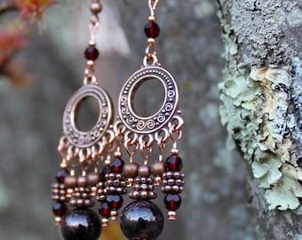 Copper, Garnet, and Swarovski Crystal Chandelier Earrings