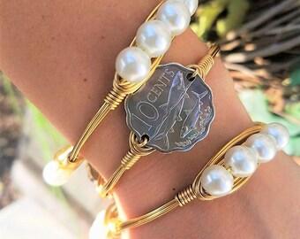 Bahama coin bangle, beach bangle, beach bangle stacks, bangle stacks, jewelry, summer jewelry, beach jewelry, vintage, coins, ocean,beach