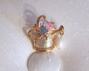 Friendship in Bloom Watering Can with Pearl ~ Vintage Avon Tac Pin ~ Lapel Pin ~ Tie Tack