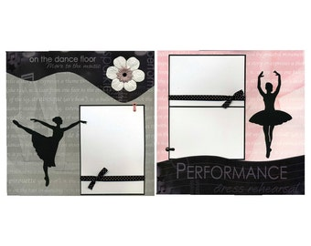 On The Dance Floor - Two 12x12 Premade Ballet Scrapbook Pages