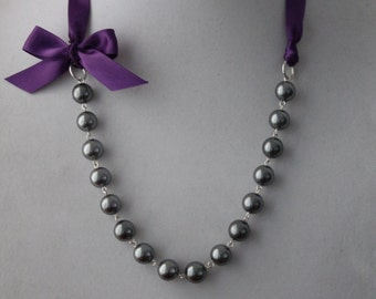 Charcoal Gray Pearl and Purple Ribbon Bow Necklace