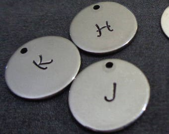 Add-On Initial Charm - One Hand stamped Initial Charm to Personalize Your Flourishing Metals Jewelry / Gift