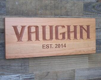 Last Name Established Sign, Wedding Gift Idea, Custom Wedding Gift, Personalized, Wedding Name Sign, Cherry EG