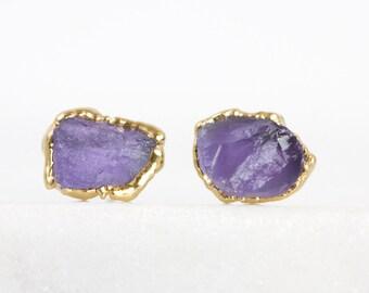 iolite earrings / iolite studs / lavender earrings / September birthstone / purple stone studs / raw crystal studs / violet crystal studs