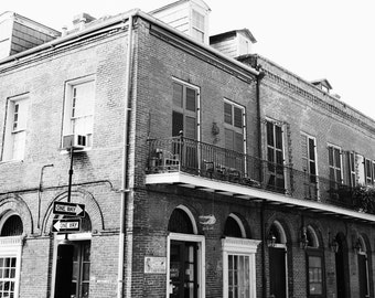 new orleans art, black and white architecture, french quarter photography, street photography, one way sign, living room art