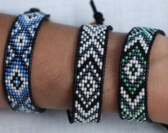 Leather Wrap Boho Beaded Bracelet Aztec