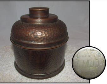 Vintage Hammered Copper Humidor for Pipe Tobacco by Rumidor or New York, 30s, tobacciana, smoking