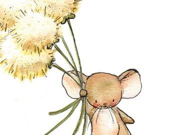 Children Art Print. Wishful Flying. PRINT. 8X10. Nursery Art Home Decor