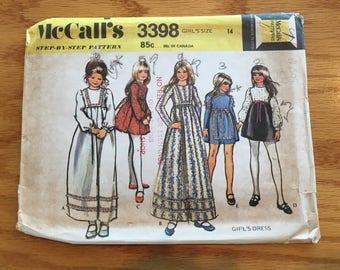 1972 McCalls Sewing Pattern 3398 Girls Short or Long Dress Empire Waist Bow Front  Size 14-cut- 1970s girls dress pattern,boho dress, hippie