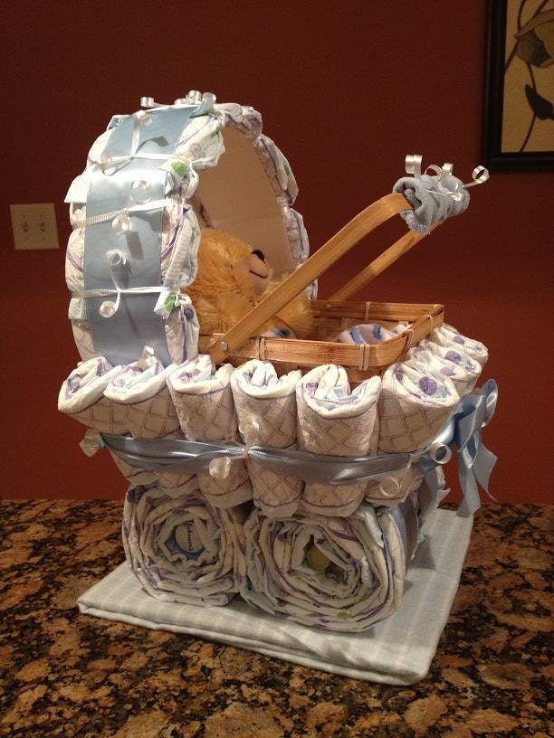 Boy Diaper Carriage Unique Baby Shower Gift