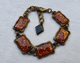 Retro resin inclusion, black and copper, black enamel diamond bracelet