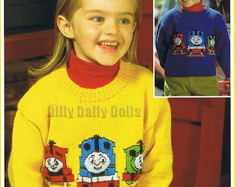 Thomas Tank Engine Intarsia Sweater PDF knitting Pattern featuring Thomas James and Percy