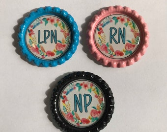 Nursing wreath #7 RN LPN NP Retractable id Badge Reel, lanyard, badge holder