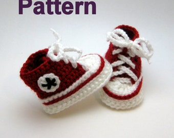 Baby Converse Pattern, Converse, Booties pattern, baby booties pattern, baby shoes pattern, baby booties, toddler shoes, crochet pattern