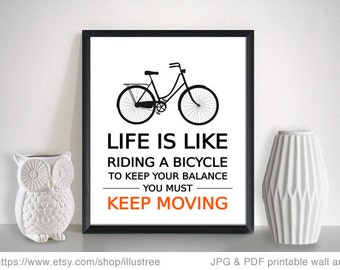 Life is like riding a bicycle, Einstein qoute, printable wall art, digital print with bicycle or tandem bike, 8x10 print, instant download