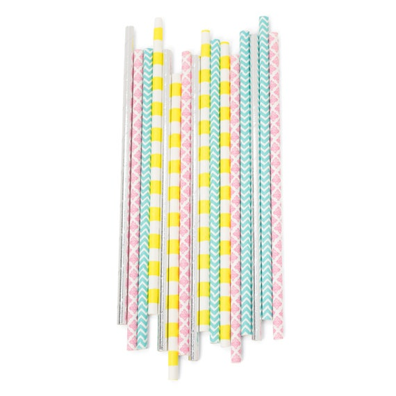 Confetti Cocktail Straw, Paper Straw, Pink Straw, Yellow Straw, Teal Straw, Silver Decor, Birthday Party, Gender Reveal, Summer Buffet