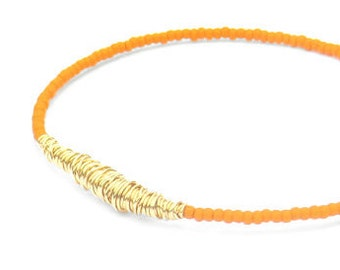 Beaded Bracelet // Orange Gold Bracelet // Eco-Friendly Bridesmaid Gift // Seed Bead Bracelet // Friendship Bracelet // Music Recycle Sister