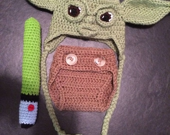 Yoda hat, diaper cover & Lightsaber