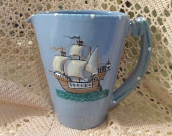 Vintage Italian Pottery Handmade Pitcher with Boat and Anchor Design
