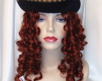 Pirate Hat and Wig, Pirates of the Carribean Hat, Pirate Hat and Wig Set, Jack Sparrow Hat, Steampunk Hat