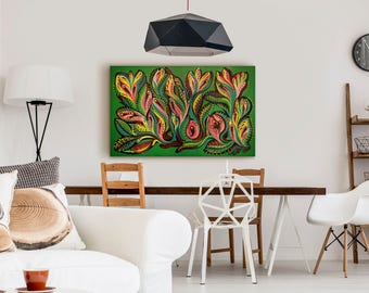 Mid Century Modern Art Print Abstract Painting Large Painting Original Expressionist Painting Mid Century Painting Green Painting Original