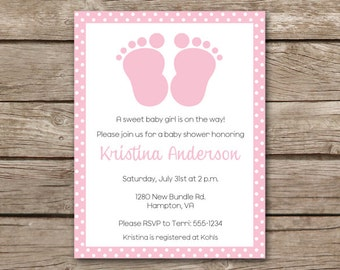 Baby Feet Invitation, Baby Feet Shower Invitation, Girl Baby Shower Invitation, Pink Baby Feet Invitation, PRINTABLE